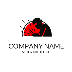 Red Semicircle and Black Welding Engineer logo design