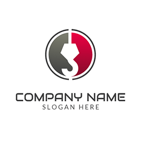Red Semicircle and White Crane Hook logo design