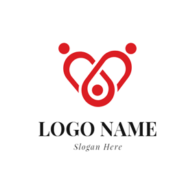 Red Shape and Abstract Family logo design