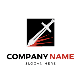 Red Spark and White Sword logo design