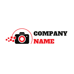 Red Square and Black Camera logo design
