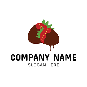 Red Strawberry and Chocolate Cream logo design