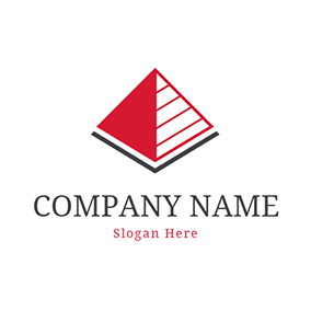 Red Stripe and Triangle Pyramid logo design