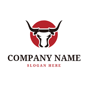 Red Sun and Black Bull Head logo design