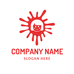 Red Sun and Happy Child Face logo design
