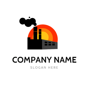 Red Sun and Industrial Chimney logo design