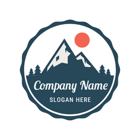 Red Sun and Mountain Camping logo design