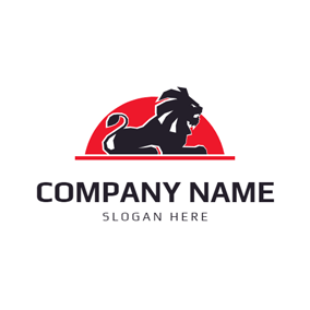 Red Sunset and Sitting Leo Lion logo design