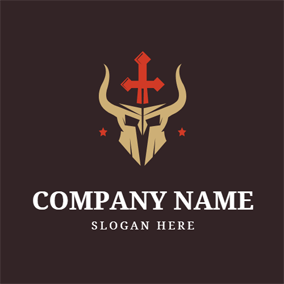 Red Sword and Horned Warrior Head logo design