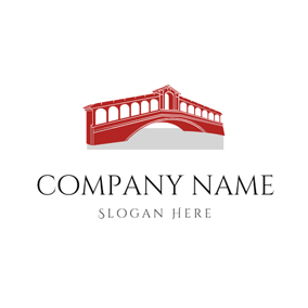 Red Traditional Arch Bridge logo design