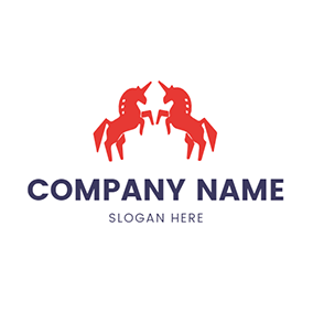 Red Unicorn and Symmetry logo design