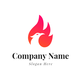 Red Wing and White Phoenix Head logo design