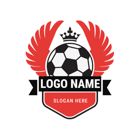 Red Wings and Crowned Football Badge logo design