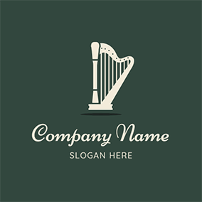 Reflection Simple and Beautiful Harp logo design