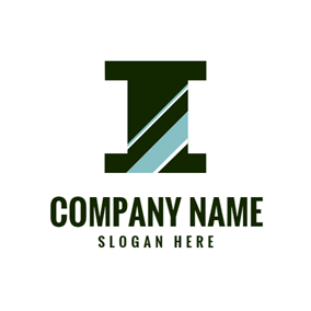 Regular Dark Green Letter I logo design