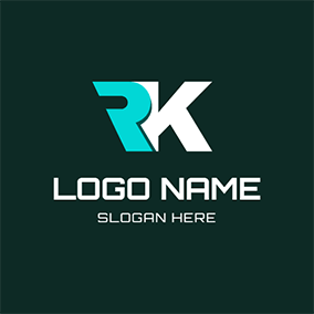 Regular Overlay Letter R K logo design