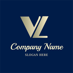 Regular Simple Letter V and L logo design