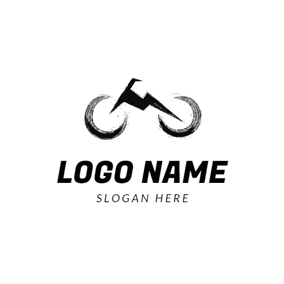 Retro and Flat Black Bike logo design