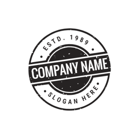 Retro Black and White Unique Stamp Postmark logo design