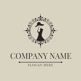 Retro Mirror and Elegant Woman logo design