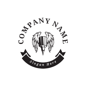 Retro Wing and Tattoo Needle logo design