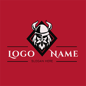 Rhombus Simple Viking Figure logo design