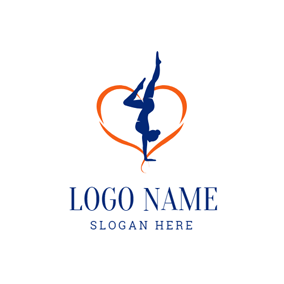 Ribbon and Gymnastics Athlete logo design