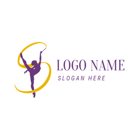 Ribbon and Gymnastics Sportswoman logo design