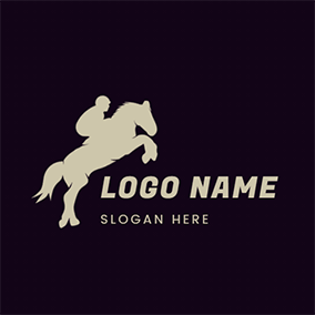 Rider Horse Outline Jump Rodeo logo design