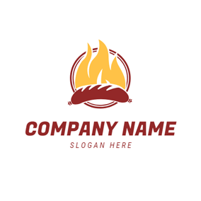 Roast Sausage and Fire logo design