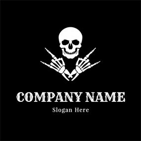 Rock Gesture and Human Skeleton logo design