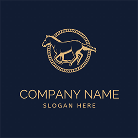 Rope Circle Horse Rodeo logo design