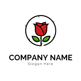 Rose Vine and Thorny Rose logo design