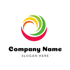Rotated Colorful Shape and Circle logo design