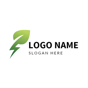 Round Green Leaf and Lightning logo design