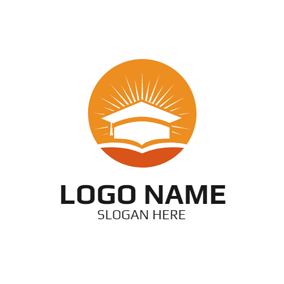Round White Mortarboard and Opened Book logo design