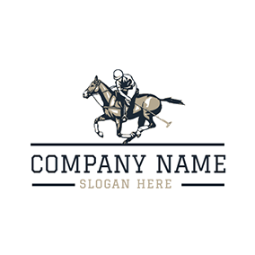 Running Horse and Polo Sportsman logo design