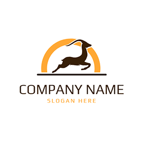 Running Impala and Yellow Circle logo design
