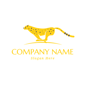 Running Yellow Cheetah logo design