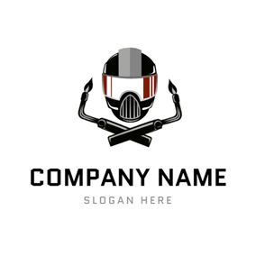 Safety Helmet and Welding Torch logo design