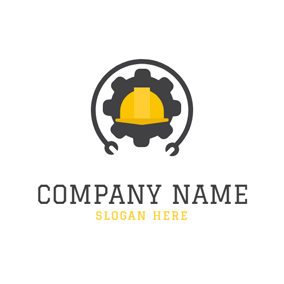 Safety Helmet and Wheel Gear logo design