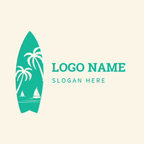 Sailboat and Coconut Tree logo design