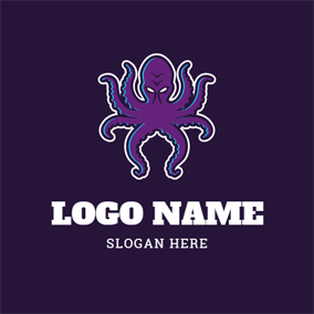 Scary Purple Octopus Kraken logo design