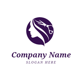 Scissor and Purple Hair logo design