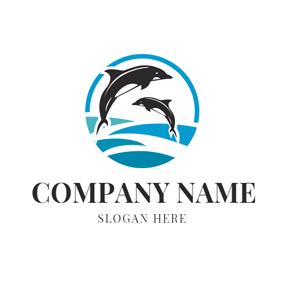 Sea and Jump Dolphin logo design
