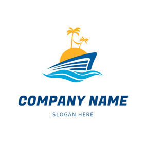 Sea Wave and Island logo design