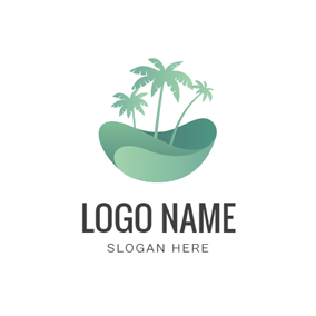 Sea Wave and Palm Tree logo design