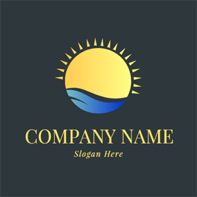 Sea Wave and Sunlight logo design
