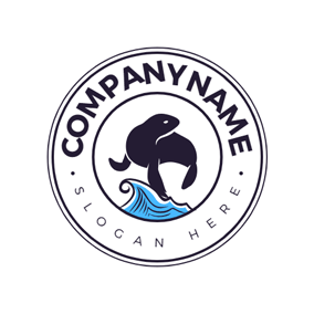 Sea Wave and Swimming Seal logo design