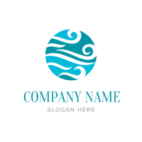 Sea Wave and Water logo design